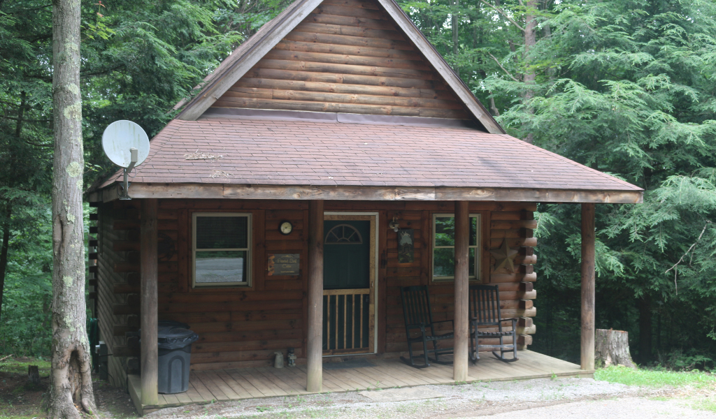 2 story cabin with roof with front porch. Tall trees behind cabin. Sateilite on roof.